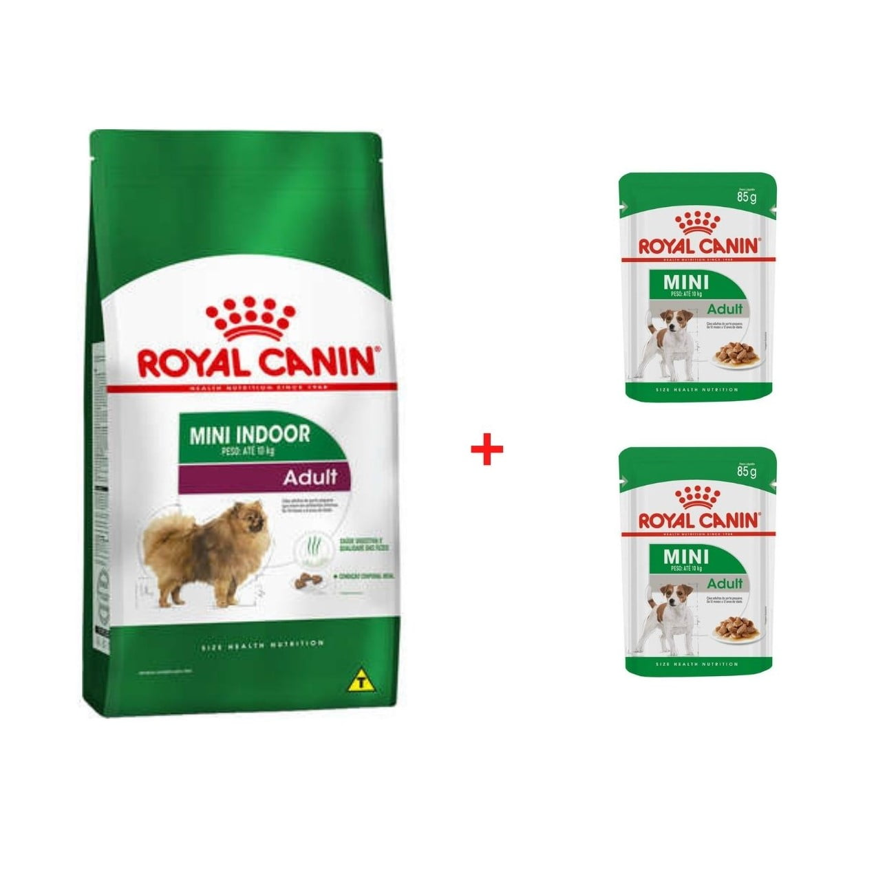Combo Ração Royal Canin Mini Indoor Adulto 7,5kg + 2 Sachês Royal Canin Mini Adulto 100g
