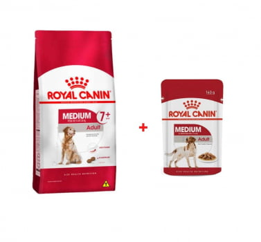 Combo Ração Royal Canin Medium Adult para Cães de Raças Médias 15kg + 4 Sachês Royal Canin Medium Adult 140g